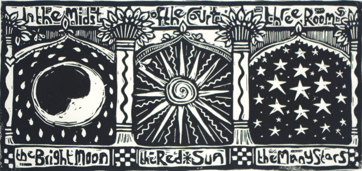 """Printmaking titled """"In the midst of the…"""" by Penny Wright, Original Art, Linocuts"""