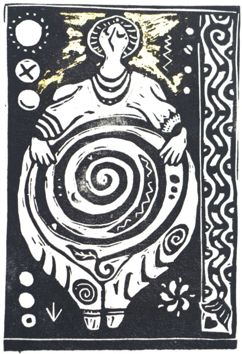 """Printmaking titled """"Neolithic goddess I"""" by Penny Wright, Original Art, Linocuts"""