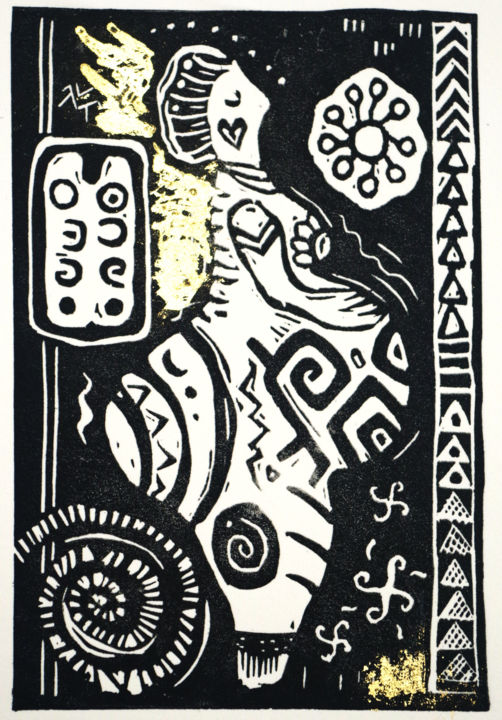 """Printmaking titled """"Neolithic goddess II"""" by Penny Wright, Original Art, Linocuts"""