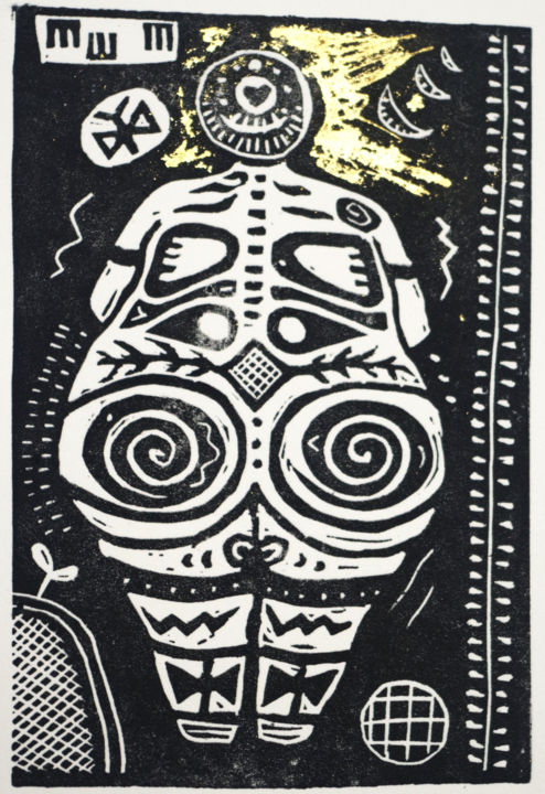 """Printmaking titled """"neolithic goddess I…"""" by Penny Wright, Original Art, Linocuts"""