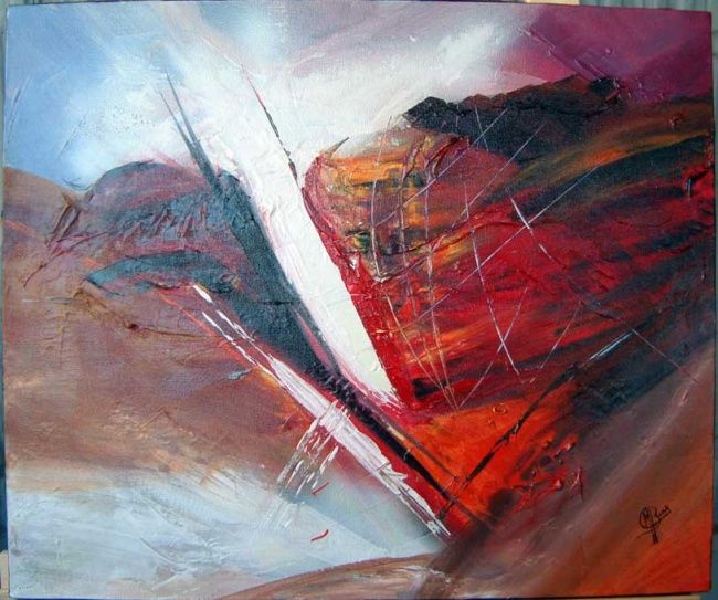 Eruption volcanique - Painting,  15.8x19.7 in, ©2007 by Morena -