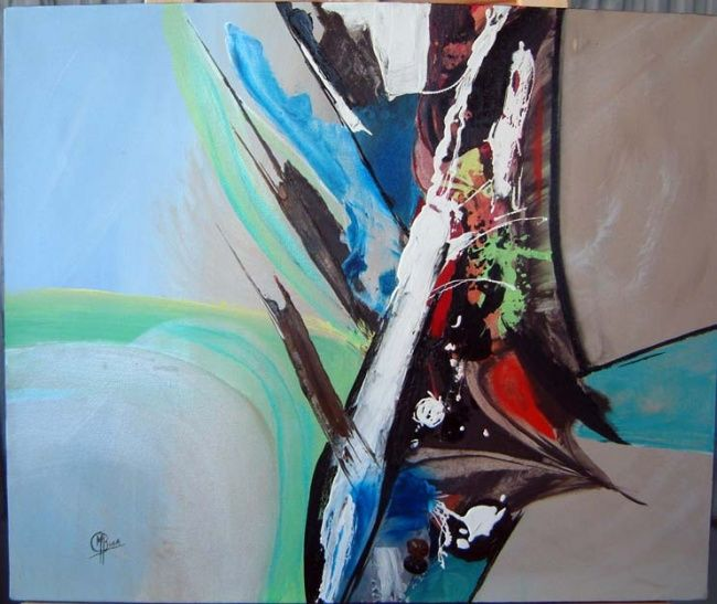 Au carrefour - Painting,  19.7x23.6 in, ©2007 by Morena -