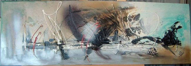 Mouvement - Painting,  11.8x35.4 in, ©2007 by Morena -