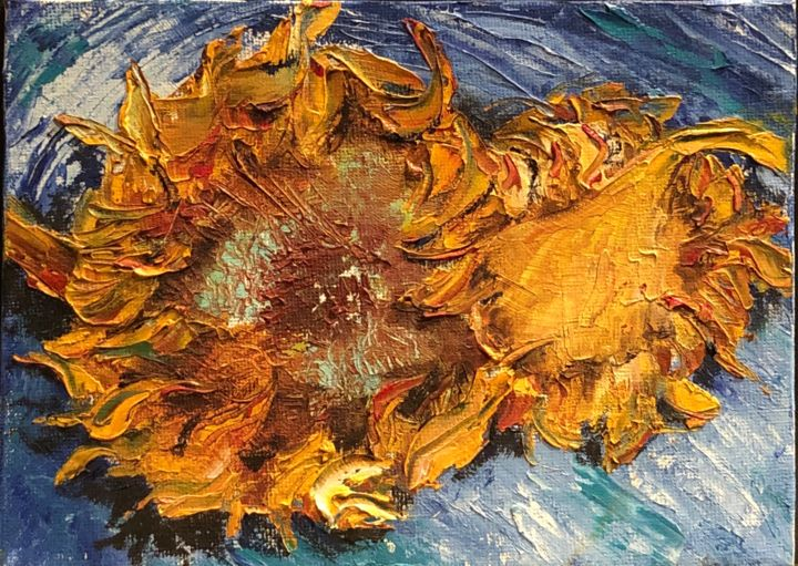 Mort du Tournesol d'après Van Gogh - Painting,  13x18 cm ©2018 by Kate_Art -                                                                                    Art Deco, Fabric, Canvas, Flower, Nature, art, art déco, déco, tournesol, fleur, flowers, tout couteau, kniffer peinting, kniff, painting, peinture, acrylicpainting, acrylic, acrylique, mydéco, myart, artworld, dekoracja, obraz, art_we_inspire