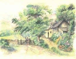 """Painting titled """"Country Cottage"""" by Morgan Fitzsimons, Original Art,"""
