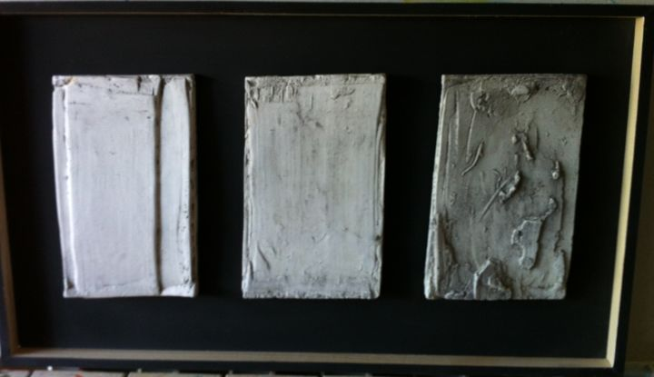 """Sculpture titled """"Even Purgatory Hell"""" by Moricemarcuse, Original Art, Plaster Mounted on Wood Panel"""