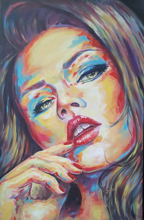 """Painting titled """"Concentration"""" by Moro Attia, Original Art, Acrylic"""