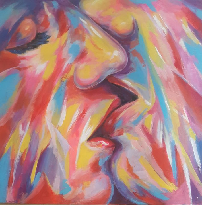 """Painting titled """"Kiss in colors"""" by Moro Attia, Original Art, Acrylic"""