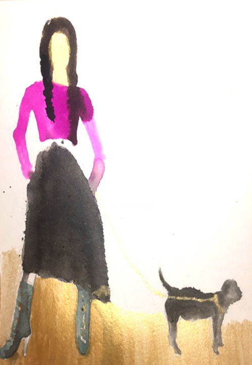 Femme au chien - Painting,  25x32.5x0 cm ©2017 by Mosa -                                                            Art Deco, Paper, Women, Femme et animal, chien, luxeet fashion, or