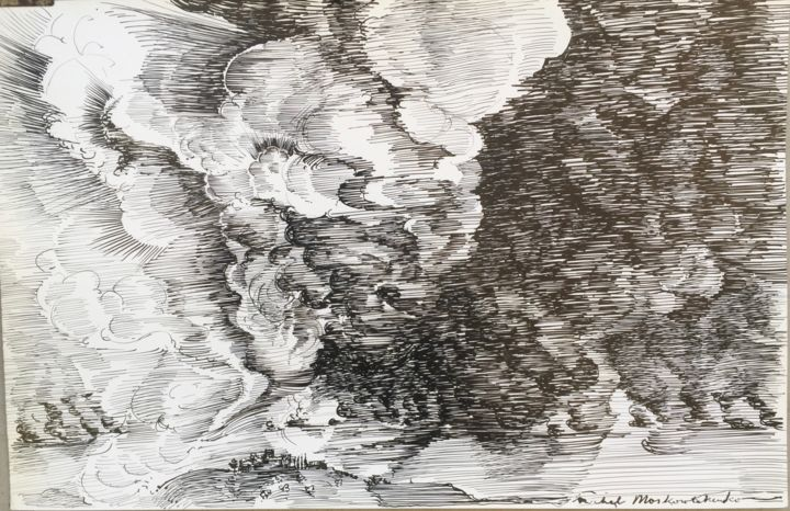 NUAGES - Drawing,  32.5x50 cm ©1963 by Michel Moskovtchenko -                                                        Figurative Art, Paper, Landscape