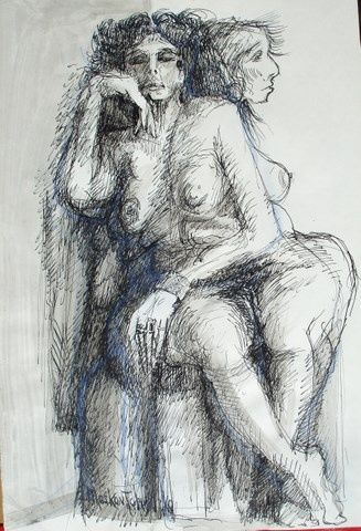 NANCY - Drawing,  54x37 cm ©1993 by Michel Moskovtchenko -                                                            Expressionism, Paper, Black and White, nu  femme fille féminin allégorie sphinx   mutation  antique   deese mère fécondité nourricier poitrine callypige