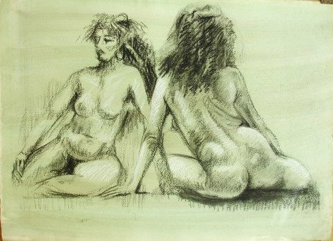 NANCY: 2  POSES ORIENTALES - Drawing,  56x40 cm ©1993 by Michel Moskovtchenko -                            Black and White, nu  femme fille féminin allégorie sphinx   mutation  antique   deese mère fécondité nourricier poitrine callypige