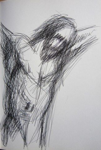 Drawing,  22 x 31 cm ©1997 by Michel Moskovtchenko -  Drawing, artwork_cat.Black and White, christ crucifixion