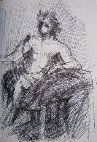 PROJET POUR UN TRONE - Drawing,  12.2x8.7 in, ©1997 by Michel Moskovtchenko -                                                                                                              Black and White, homme nu garçon jeune viril male masculin anatomie muscle croquis dessin encre