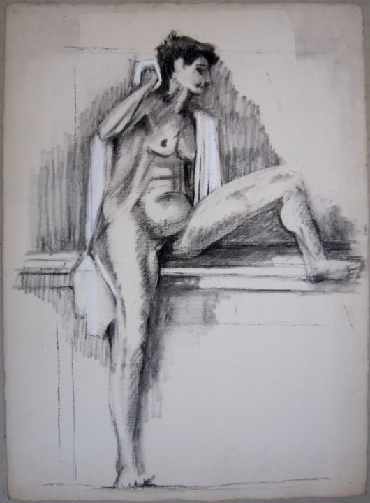 VESTIAIRE - Drawing,  40x56 cm ©1985 by Michel Moskovtchenko -                                                        Figurative Art, Paper, Nude