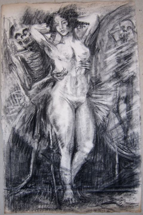VANITÉ - Drawing,  40x56 cm ©1982 by Michel Moskovtchenko -                                                        Figurative Art, Paper, Nude