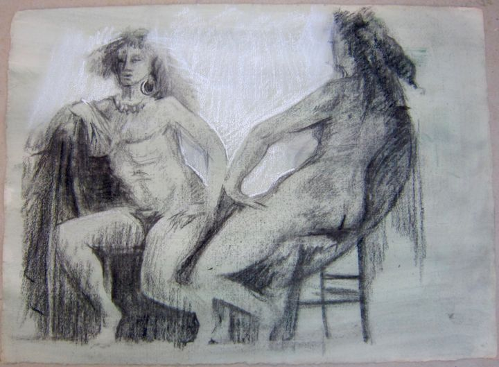 CAUSERIE - Drawing,  40x56 cm ©1987 by Michel Moskovtchenko -                                                        Figurative Art, Paper, Nude