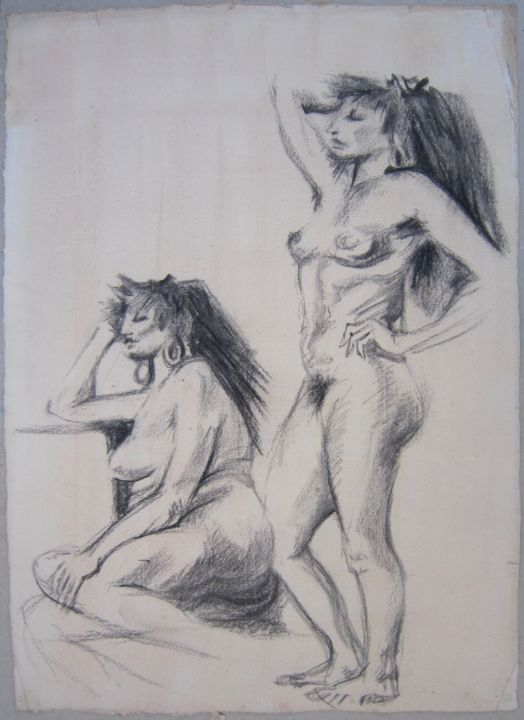 NANCY - Drawing,  56x40 cm ©1886 by Michel Moskovtchenko -                                                        Figurative Art, Paper, Nude