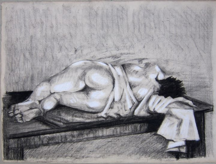 RÊVE - Drawing,  40x56 cm ©1987 by Michel Moskovtchenko -                                                        Figurative Art, Paper, Nude