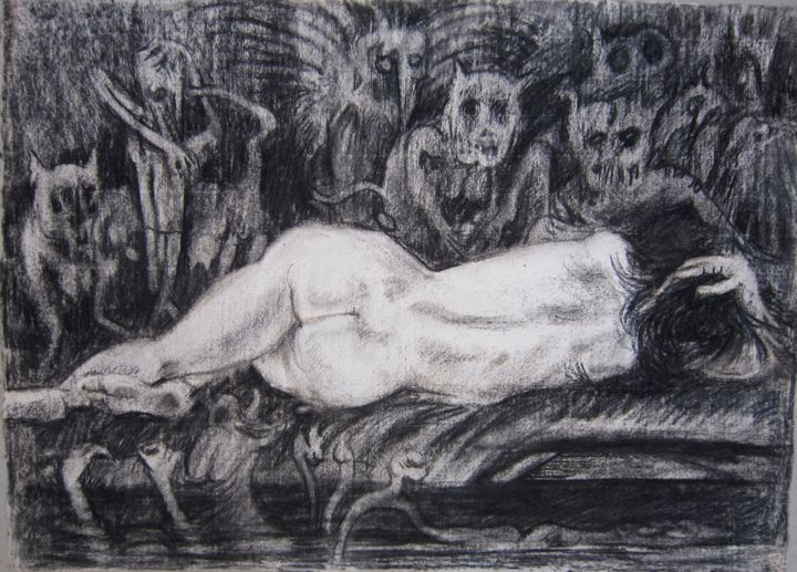 INCONSCIENTE - Drawing,  40x56 cm ©1981 by Michel Moskovtchenko -                                                        Figurative Art, Paper, Nude