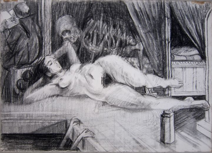 LA SIESTE - Drawing,  40x56 cm ©1981 by Michel Moskovtchenko -                                                        Figurative Art, Paper, Nude