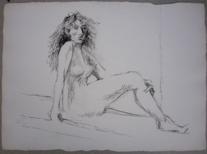 NANÇY - Drawing,  40x56 cm ©1983 by Michel Moskovtchenko -                                                        Figurative Art, Paper, Nude