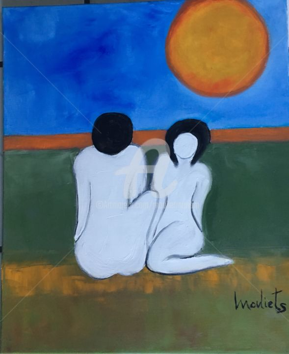 Il m'ignore - Peinture,  21,7x18,1x1,2 in, ©2019 par Mariam Mouliets -                                                                                                                                                                                                                                                                      Abstract, abstract-570, Art abstrait, couple, solei