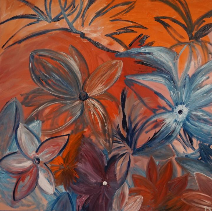 Fall-Collection - Painting,  39.4x39.4x0.8 in, ©2015 by Peter Stutz -                                                                                                                                                                          Expressionism, expressionism-591, Flower
