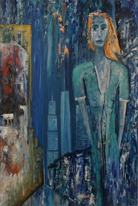 Moments-in-the-City - Painting,  1.2x0.8x0.04 m ©2018 by Peter Stutz -                                                        Contemporary painting, Canvas, People