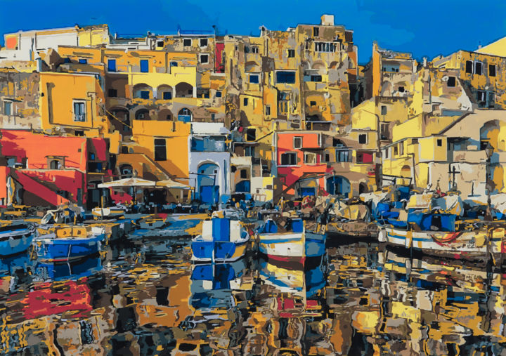 """Painting titled """"Procida"""" by Marco Barberio, Original Art, Acrylic Mounted on Stretcher frame"""