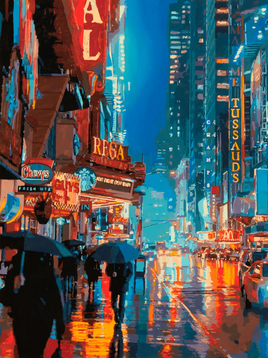 """Painting titled """"Impression Broadway"""" by Marco Barberio, Original Art, Acrylic Mounted on Stretcher frame"""