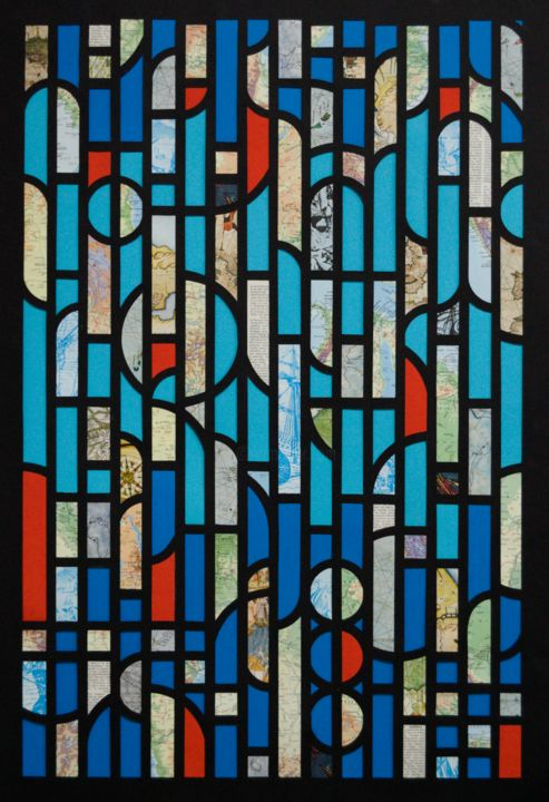 Descobrimentos - Collages,  35.4x25.6x0.8 in, ©2019 by David Barnes -                                                                                                                                                                                                                                                                                                                                                                                                                                                                                                                                                                                                                                                              Abstract Art, Boat, Culture, Geometric, History, Collage, Stained glass, Geometry, maps, Portuguese, Abstract, Colour, hand cut, modern