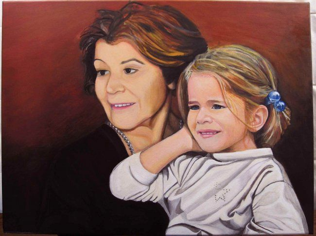 Aline et Simone - Painting ©2008 by Michel Robitaille -