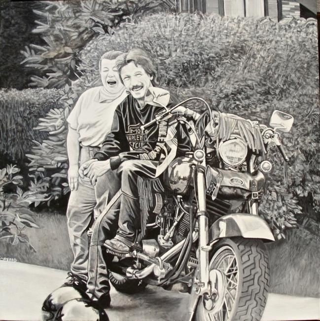 Harley Davidson - Painting,  20x20 in ©2011 by Michel Robitaille -