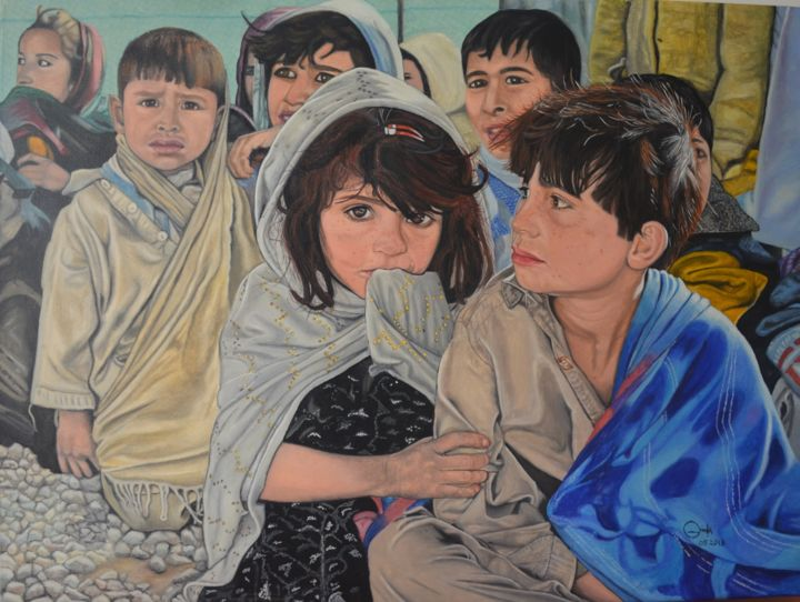 """Painting titled """"Refugee Camp"""" by Marius Ghita, Original Art, Watercolor Mounted on Stretcher frame"""