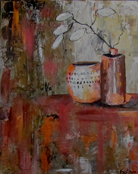 """Painting titled """"Rice paper leaves"""" by Bobbie O'Toole, Original Art, Acrylic"""