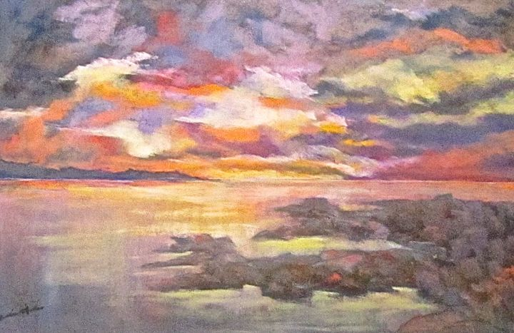 """Painting titled """"Six O'Clock Sky"""" by Bobbie O'Toole, Original Art, Pastel Mounted on Other rigid panel"""