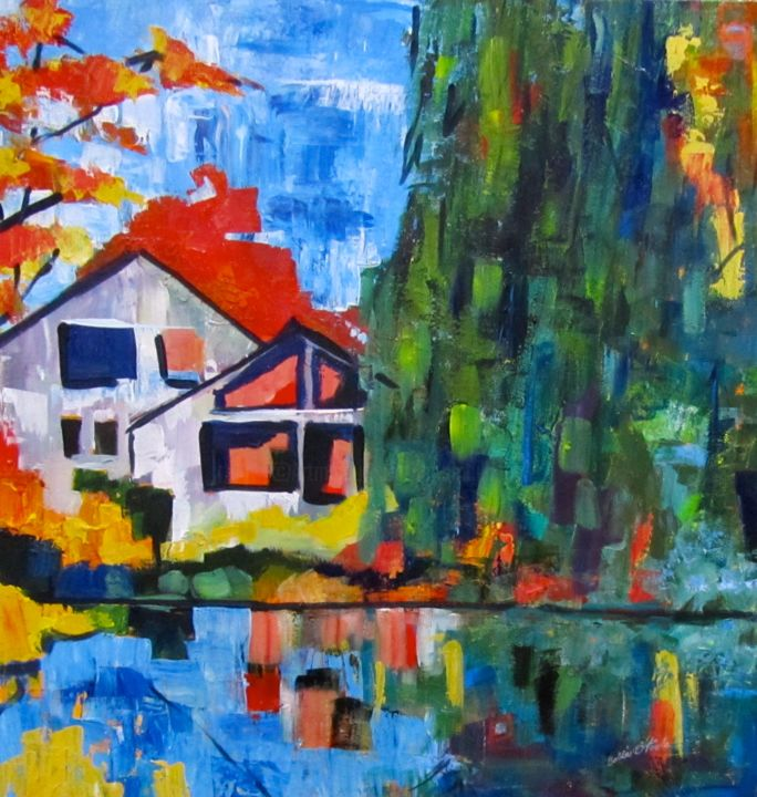 """Painting titled """"Fall at Orchard Pond"""" by Bobbie O'Toole, Original Art, Acrylic"""