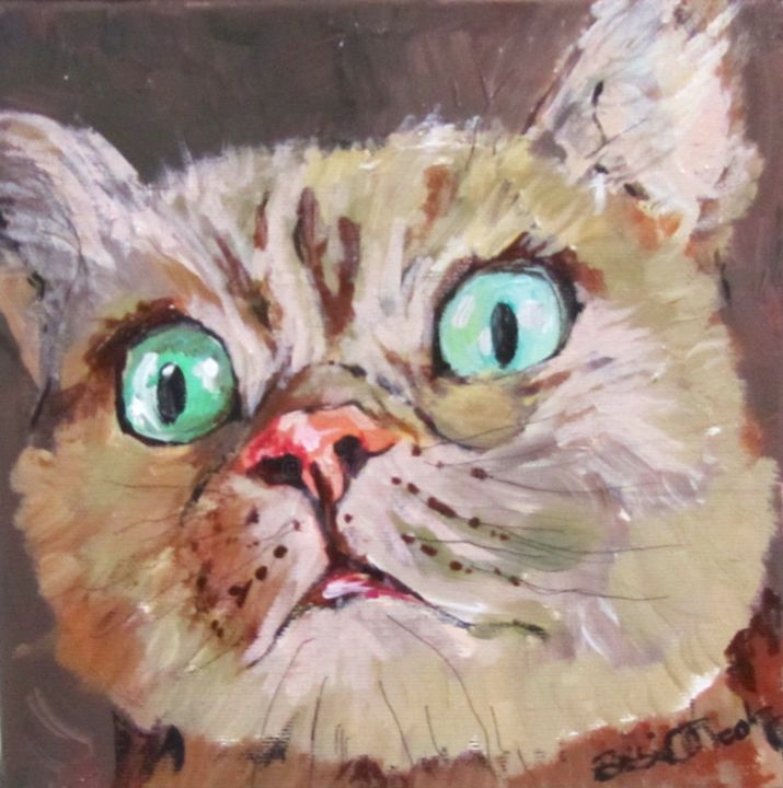 """Painting titled """"CAT - What do you s…"""" by Bobbie O'Toole, Original Art, Acrylic"""