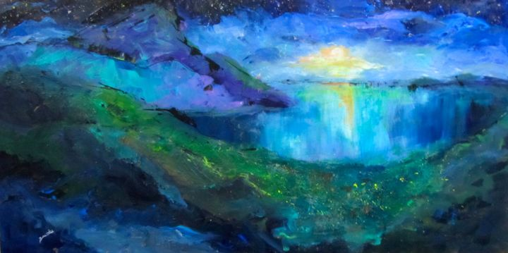 """Painting titled """"Moon Rise"""" by Bobbie O'Toole, Original Art, Acrylic"""