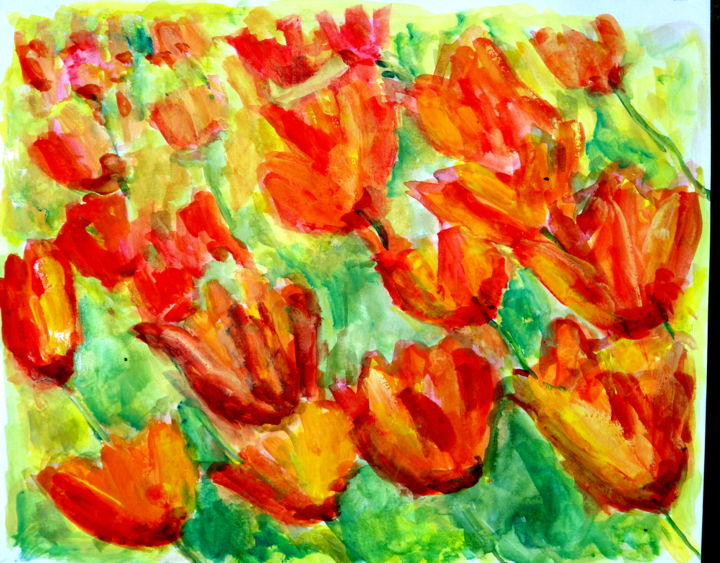 imgp1774.jpg - Painting,  9.1x11.8x0.4 in, ©2018 by Samacca Art -                                                                                                                                                                                                                                                                                                                                                                                                          Expressionism, expressionism-591, Flower, tulips, flowers, field of flowers, meadows, tulip