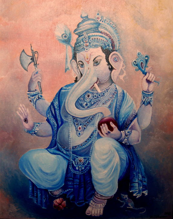 Ganesh (Oil on canvas, precoated paper board)