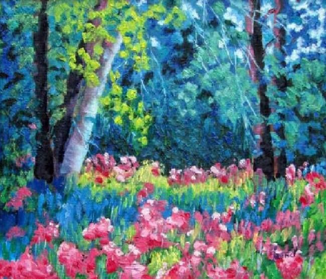 """Painting titled """"Wild Garden"""" by Marie-Therese Forand, Original Art,"""