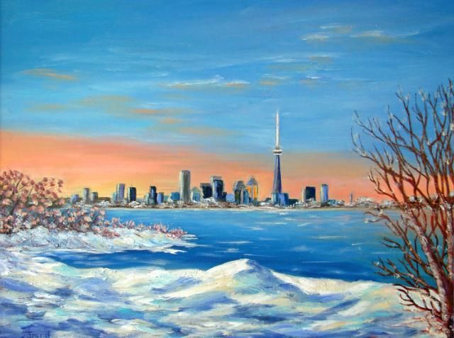 """Painting titled """"Toronto Sunset"""" by Marie-Therese Forand, Original Art,"""