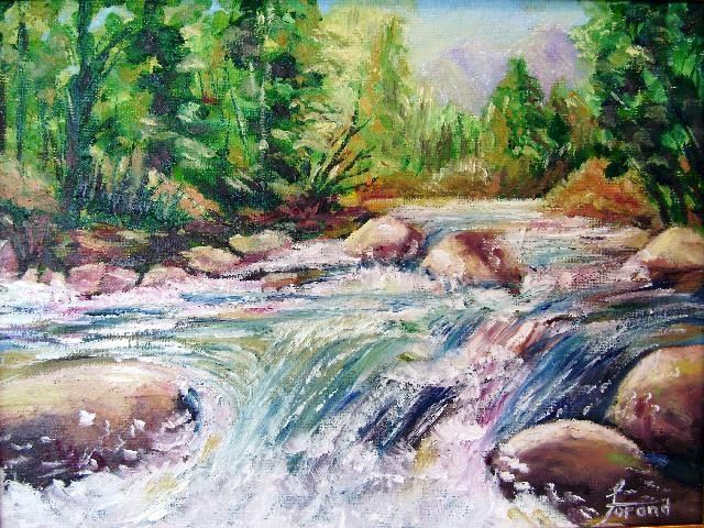 Oxtongue Rapids - Painting,  16x12 in ©2008 by Marie-Therese P. Forand -