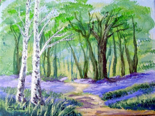 """Painting titled """"Blue Phlox"""" by Marie-Therese Forand, Original Art,"""