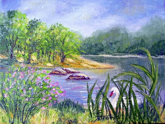 """Painting titled """"Humber Bay Swan"""" by Marie-Therese Forand, Original Art,"""