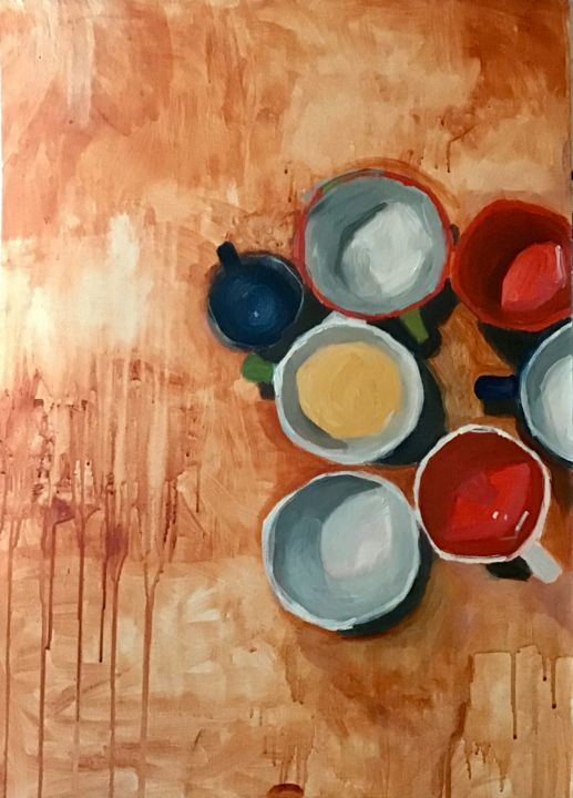 """Painting titled """"cups 2"""" by Muge Ozman, Original Art, Acrylic"""