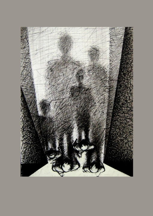 """Drawing titled """"Funeral"""" by 757, Original Art, Ink"""