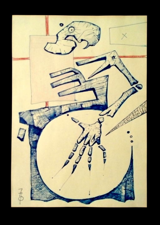"""Drawing titled """"One way"""" by 757, Original Art, Ink"""